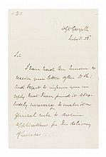 GLADSTONE, WILLIAM. Autographed letter signed, three pages, July 11, 1856.