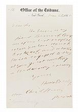 GREELEY, HORACE. Autographed letter signed, one page, June 29, 1868.