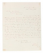 LEE, ROBERT E. ALS, one page, Headquarters of the C.S. Armies, February 21, 1865. To U.S. Grant regarding the exchange of prisoners.