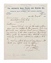 PORTER, FITZ-JOHN. Autographed letter signed, one page, May 22, 1890.