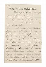 SHERMAN, WILLIAM T. Autographed letter signed, three pages, Washington, February 27, 1873. To