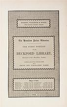 BECKFORD, WILLIAM THOMAS. The Hamilton Palace Libraries: Catalogue...of the Beckford Library. London, 1882-3. 4v.