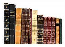 (BINDINGS) A group of thirteen leather bound books.