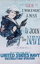 (WWI POSTERS, US) CHRISTY, HOWARD CHANDLER. Gee!! I Wish I Were a Man, 1918. Color lithograph poster.