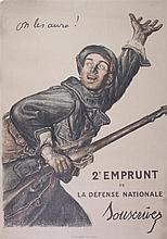 (WWI POSTERS, FRANCE) FAIVRE, JULES ABEL. On les aura! Circa 1917. Lithograph poster.