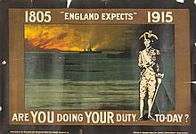 (WWI POSTERS) A group of six WWI propaganda posters. 1915 - 1918.