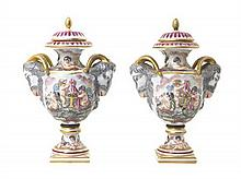 * A Pair of Capodimonte Porcelain Urns, Height overall 8 1/4 inches.