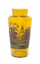 * An Enameled Amber Glass Vase, Height 8 1/2 inches.