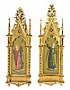 * Two Gothic Revival Paintings, Height 23 3/4 x width 7 3/4 inches.,