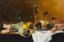 Continental School, (20th Century), Still Life with Fruit and Pie on a Pewter Plate