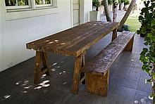 A Belgian Oak Refectory Table Height 30 x width 118 x depth 35 inches.