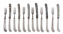A Victorian Silver Fruit Service, Maker's Mark JD, Birmingham, 1894, comprising six fruit knives and six fruit forks, with reeded pist