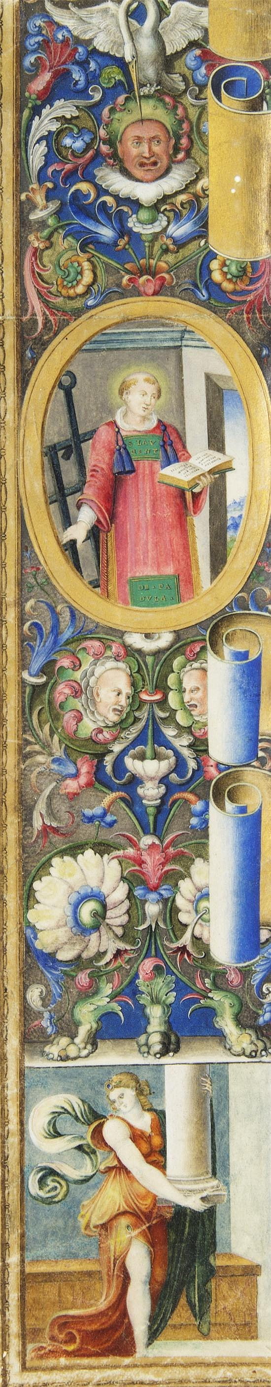 * (ILLUMINATED MINIATURE) SAINT LAWRENCE. An upright illuminated border, Italian, early 16th-century.