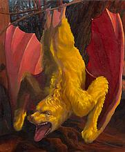 Laurie Hogin, (American, 20th/21st century), Gold Bat Diptych II, 1990