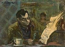 * Clyde Singer, (American, 1908-1998), Cafeteria Reader, 1963