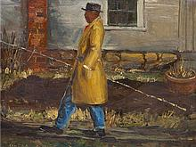 * Clyde Singer, (American, 1908-1998), Man in Overcoat with Fishing Pole, 1933