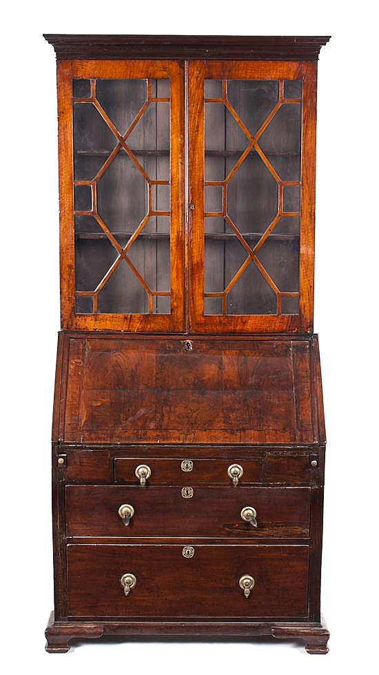 A George III Style Secretary Bookcase, Height 83 x width 37 x depth 19 inches.