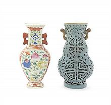 Two Chinese Porcelain Wall Pocket Vases, Height of taller 7 inches.