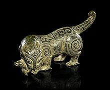 * A Carved Jade Figure of a Tiger, Width 9 1/2 inches.