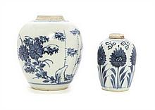 Two Chinese Blue and White Porcelain Articles, Height of taller 6 inches.