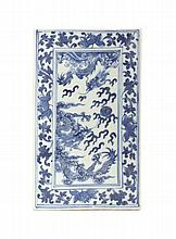A Chinese Blue and White Porcelain Tile, Height 8 3/8 inches.