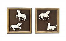 Eight Framed Chinese Carved Ivory Horses. Average width 3 3/4 inches.