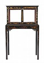 An English Japanned Vitrine on Stand, Height overall 55 1/2 x width 34 x depth 15 inches.