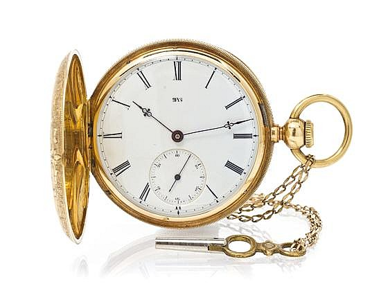 An 18 Karat Yellow Gold Hunter Case Key Wound Pocket Watch, Elgin, 49.90 dwts.