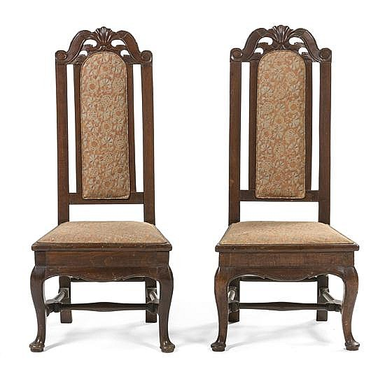 * A Pair of Italian Walnut Hall Chairs, Height 43 inches.