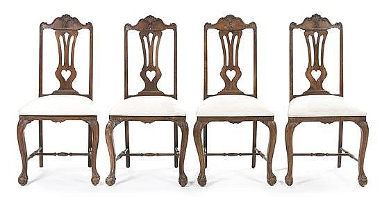 * A Set of Four Spanish Walnut Side Chairs, Height 43 inches.
