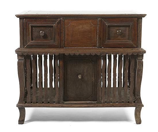 * A Spanish Colonial Side Cabinet, Height 37 x width 42 x depth 25 1/2 inches.
