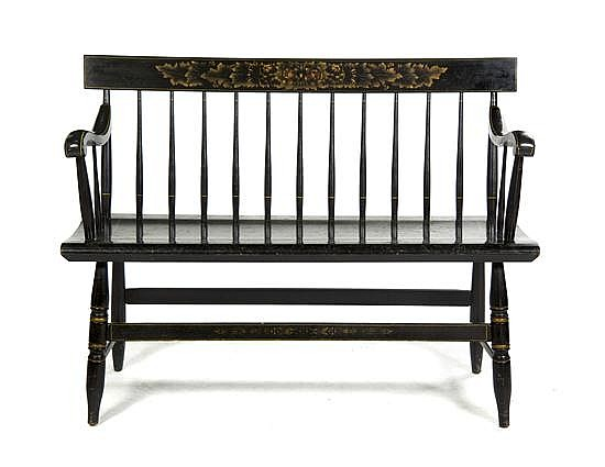 * An American Ebonized and Stenciled Bench, Width 45 inches.