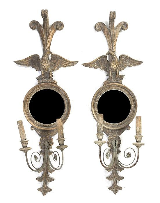 A Pair of American Federal Style Two-Light Girandole Mirrors, Height 39 3/4 inches.