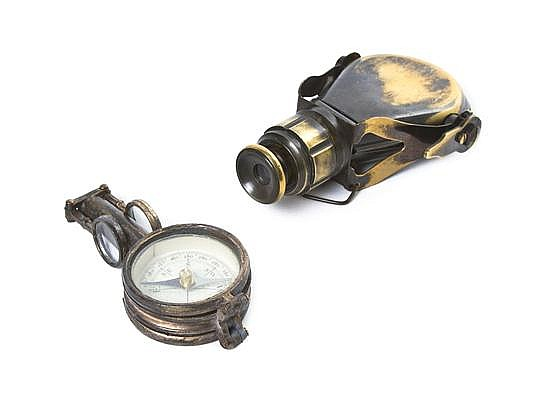 * A Brass Clad Monocular, Length of first 4 inches (closed).