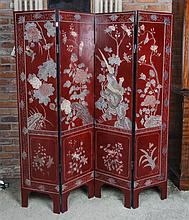 A Chinese Coromandel Four-Panel Floor Screen, Height 63 3/4 inches.