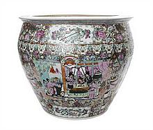 A Chinese Export Rose Medallion Porcelain Urn, Height 16 x diameter 17 1/2 inches.