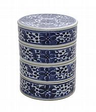 A Chinese Export Porcelain Blue and White Painted Stacking Container. Height 5 inches.