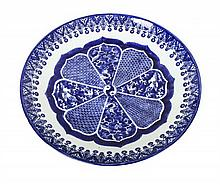 A Chinese Export Blue and White Painted Porcelain Charger, Diameter 18 inches.