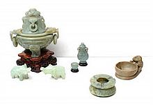 A Collection of Seven Chinese Carved Jade and Stone Articles, Height of first 6 1/2 inches.