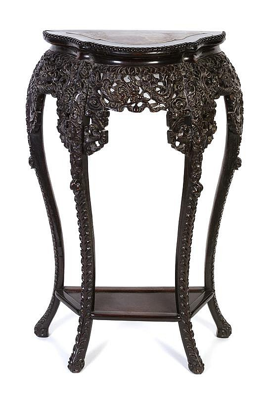 A chinese carved wood and marble side table height 36 x wi for 10 inch wide side table