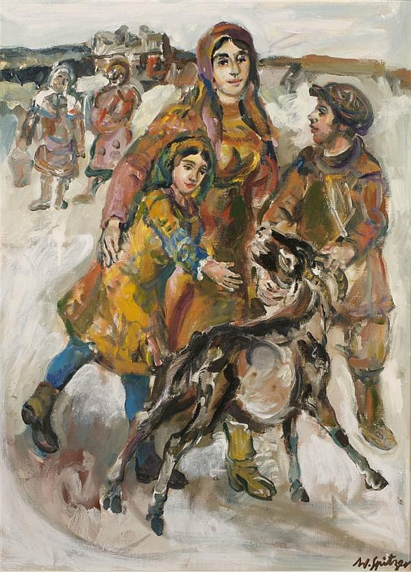 Walter Spitzer, (Polish, b. 1927), Family with Goat