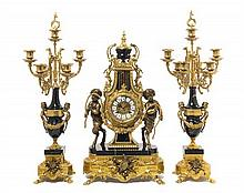 * A French Neoclassical Gilt Bronze and Marble Clock Garniture LATE 20TH CENTURY Height of clock 24 1/2 inches.