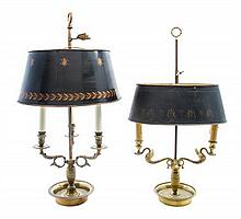 * Two Empire Style Bouillotte Lamps Height of taller 24 1/2 inches.
