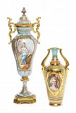 * Two Continental Porcelain Cabinet Vases Height of taller 10 1/2 inches.