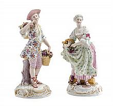 Two Continental Porcelain Figures Height of taller 8 5/8 inches.