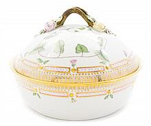 A Royal Copenhagen Flora Danica Covered Vegetable Bowl Height 7 inches x Diameter 9 1/2 inches.