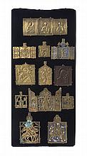 Twelve Russian Polychrome Enameled Bronze Icon Pendants, 19TH CENTURY AND EARLIER,Height of panel 24 x width 11 1/2 inches.