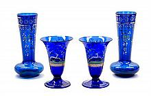 Two Pairs of Enameled Cobalt Glass Vases, attributed to Moser Height of first pair 8 inches.