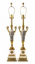 * A Pair of Neoclassical Style Gilt Bronze and Marble Urns Height overall 32 1/2 inches.