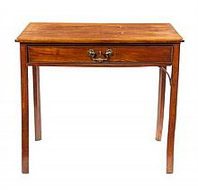 A George III Mahogany Writing Table Height 28 x width 31 3/4 x depth 19 5/8 inches.